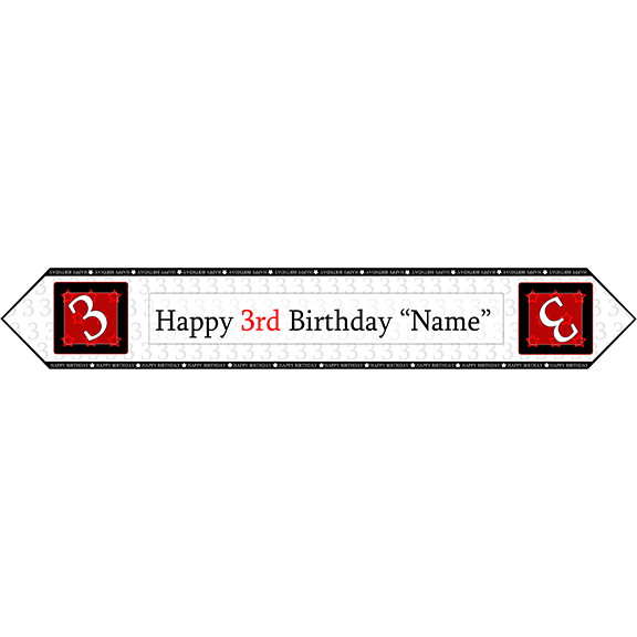 3RD BIRTHDAY RED TABLE BANNER PARTY SUPPLIES