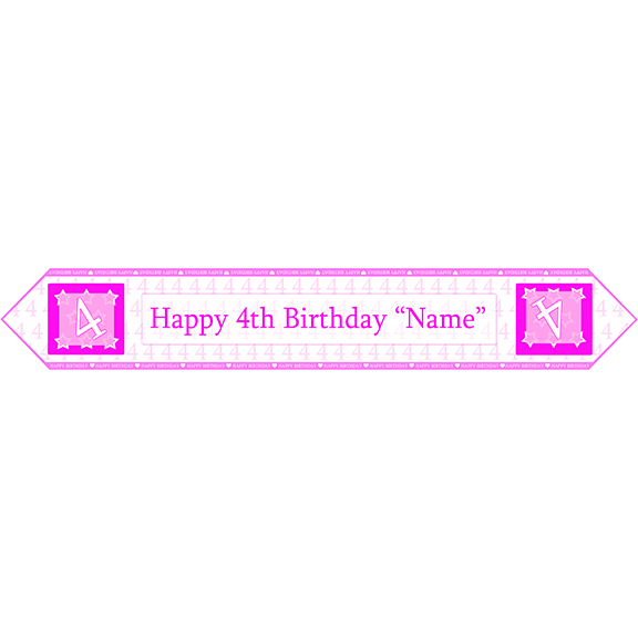 4TH BIRTHDAY PINK TABLE BANNER PARTY SUPPLIES