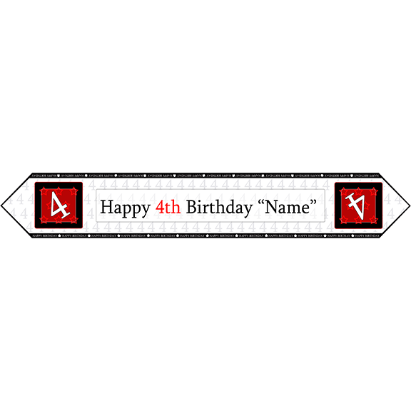 4TH BIRTHDAY RED TABLE BANNER PARTY SUPPLIES