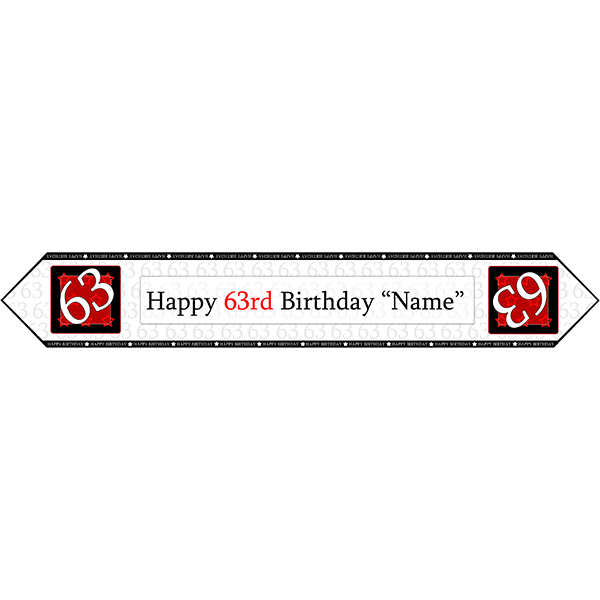 Click for larger picture of 63RD BIRTHDAY RED TABLE BANNER PARTY SUPPLIES