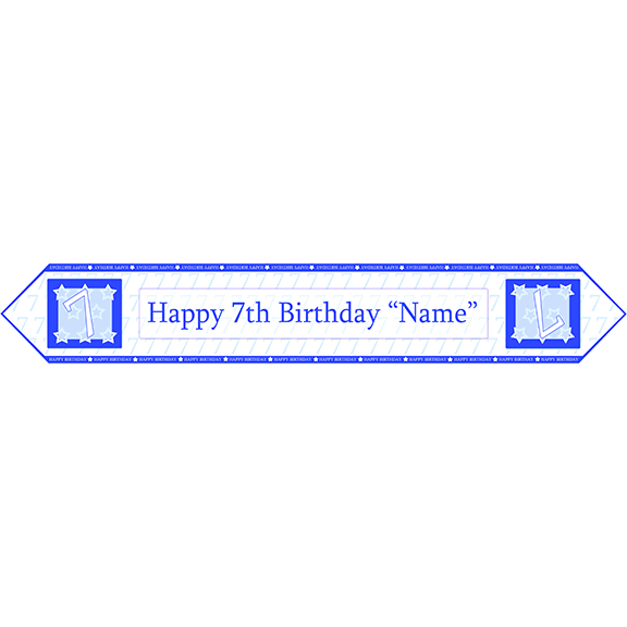 7TH BIRTHDAY BLUE TABLE BANNER PARTY SUPPLIES