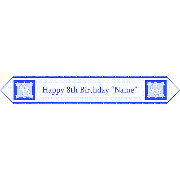 8TH BIRTHDAY BLUE TABLE BANNER PARTY SUPPLIES