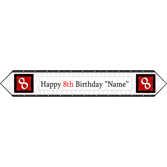 8TH BIRTHDAY RED TABLE BANNER PARTY SUPPLIES