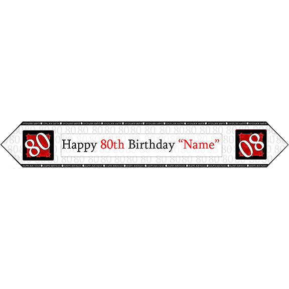 80TH BIRTHDAY RED TABLE BANNER PARTY SUPPLIES