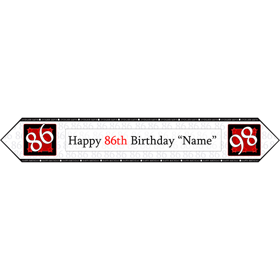 86TH BIRTHDAY RED TABLE BANNER PARTY SUPPLIES