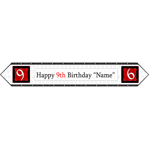 9TH BIRTHDAY RED TABLE BANNER PARTY SUPPLIES