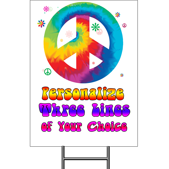 Click for larger picture of TIE DYE YARD SIGN PARTY SUPPLIES
