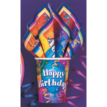 Click for larger picture of BIRTHDAY JUBILEE 9OZ CUPS (96/CS) PARTY SUPPLIES