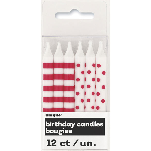 Click For Larger Picture Of RED STRIPE DOT CANDLES 144 CS PARTY