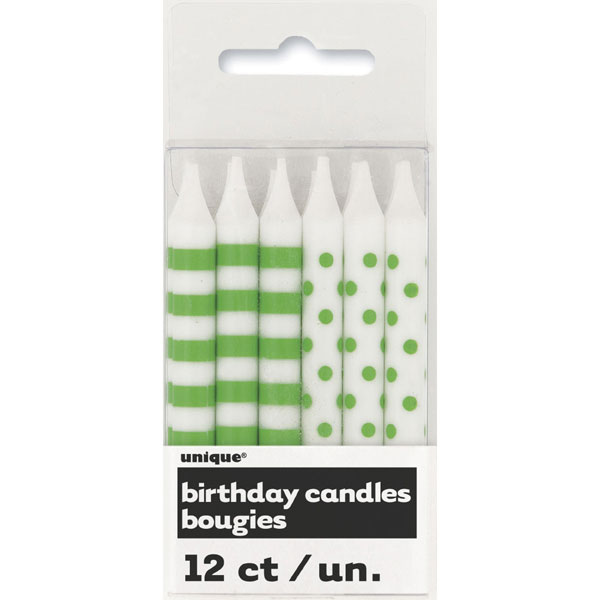 Click for larger picture of DISCONTINUED LIME GRN STRIPE-DOT CANDLES PARTY SUPPLIES