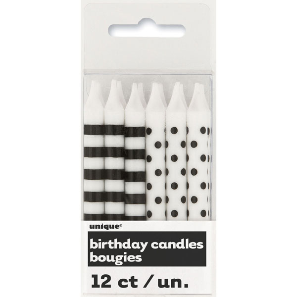Click For Larger Picture Of BLACK STRIPE DOT CANDLES 144 CS PARTY