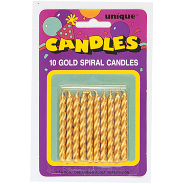Click For Larger Picture Of GOLD SPIRAL CANDLES 120 CS PARTY SUPPLIES