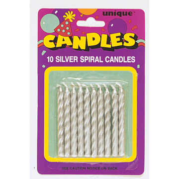 Click For Larger Picture Of SILVER SPIRAL CANDLE 120 CS PARTY SUPPLIES