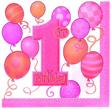 Click for larger picture of FIRST BIRTHDAY GIRL LUNCHEON NAPKIN PARTY SUPPLIES