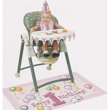 Click for larger picture of FIRST BDAY PINK HIGH-CHAIR KIT (6/CS) PARTY SUPPLIES
