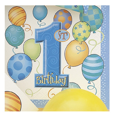 Click for larger picture of FIRST BDAY BLUE LUNCH NAPKIN (192/CS) PARTY SUPPLIES