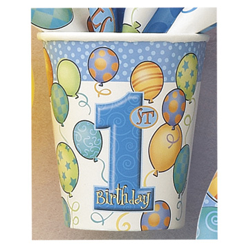Click for larger picture of FIRST BIRTHDAY BOY HOT/COLD CUP (9OZ) PARTY SUPPLIES