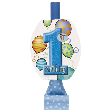 Click for larger picture of FIRST BDAY BLUE BLOWOUTS (96/CS) PARTY SUPPLIES