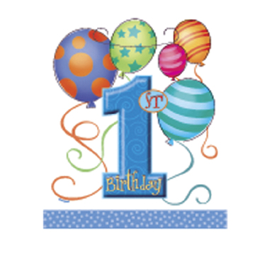 Click for larger picture of FIRST BIRTHDAY BOY TREAT SACK PARTY SUPPLIES