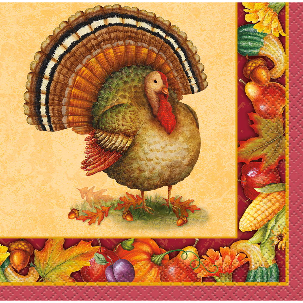 Click for larger picture of FESTIVE TURKEY BEV NAPKINS (192/CS) PARTY SUPPLIES