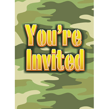 DISCONTINUED CAMO INVITES PARTY SUPPLIES