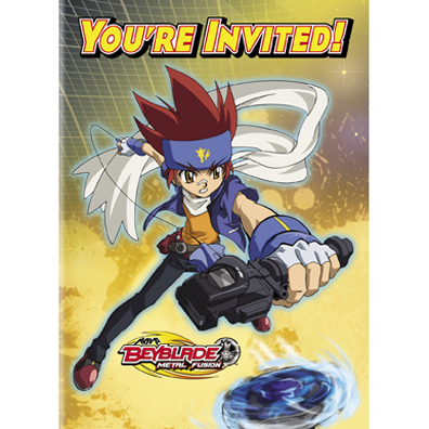 Click for larger picture of DISCONTINUED BEYBLADE INVITE PARTY SUPPLIES