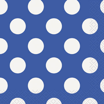 Click for larger picture of ROYAL BLUE DOTS BEVERAGE NAPKIN PARTY SUPPLIES