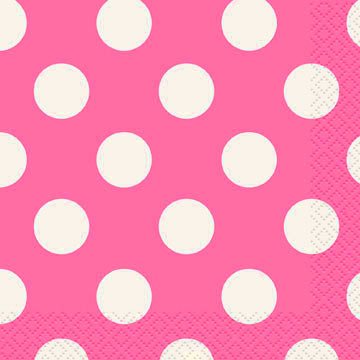 Click for larger picture of HOT PINK DOTS BEVERAGE NAPKIN PARTY SUPPLIES