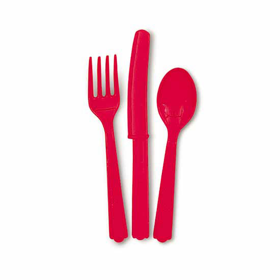 RED ASSORTED CUTLERY (144/CS) PARTY SUPPLIES