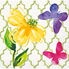 FLORAL BUTTERFLY BEVERAGE NAPKIN (288/CS PARTY SUPPLIES