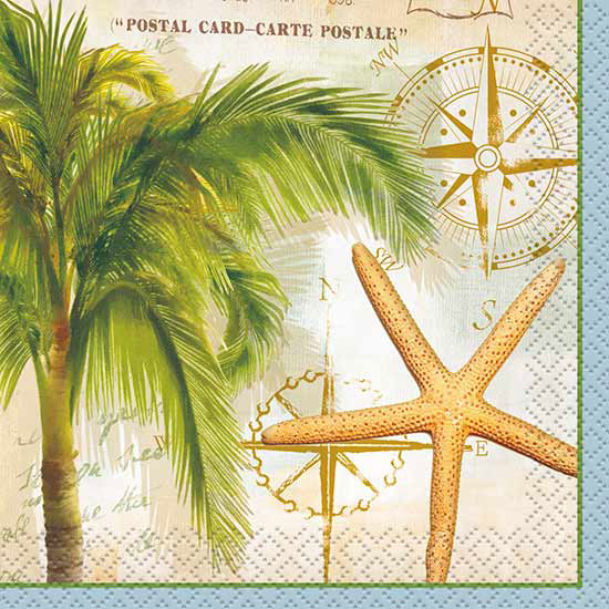 TROPICAL TRAVEL BEVERAGE NAPKIN (288/CS) PARTY SUPPLIES