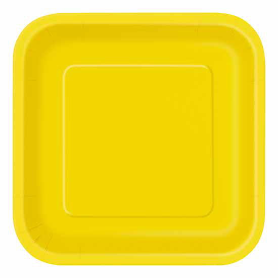 Click for larger picture of YELLOW SQUARE 7  sc 1 st  Partypro.com & bulk yellow plates cups napkins party supplies - yellow square 7 ...