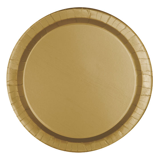 Click for larger picture of GOLD 7u0027u0027 PAPER PLATES (240/CS)  sc 1 st  Partypro.com & bulk gold plates cups napkins party supplies - gold 7 paper plates 240cs