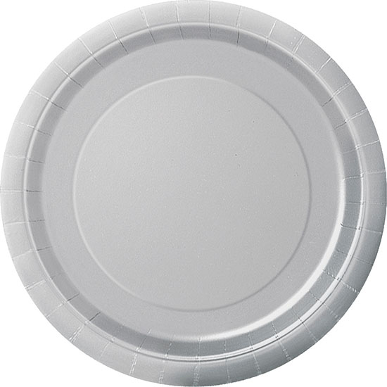 Click for larger picture of SILVER 7\u0027\u0027 PAPER PLATES (240/CS)  sc 1 st  Partypro.com & bulk silver plates cups napkins party supplies - silver 7 paper ...