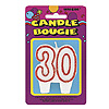 NUMBER 30 RED GLITTER CANDLE (12/CS) PARTY SUPPLIES