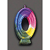 RAINBOW NUMERAL CANDLE #0 (6/CS) PARTY SUPPLIES
