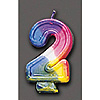 RAINBOW NUMERAL CANDLE #2 (6/CS) PARTY SUPPLIES
