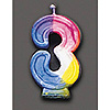 RAINBOW NUMERAL CANDLE #3 (6/CS) PARTY SUPPLIES