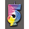 RAINBOW NUMERAL CANDLE #5 (6/CS) PARTY SUPPLIES