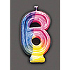 RAINBOW NUMERAL CANDLE #6 (6/CS) PARTY SUPPLIES