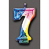 RAINBOW NUMERAL CANDLE #7 (6/CS) PARTY SUPPLIES