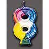 RAINBOW NUMERAL CANDLE #8 (6/CS) PARTY SUPPLIES