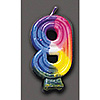 RAINBOW NUMERAL CANDLE #9 (6/CS) PARTY SUPPLIES