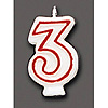 NUMBER CANDLE #3 (6/CS) PARTY SUPPLIES