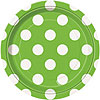 LIME GREEN DOTS DESSERT PLATE PARTY SUPPLIES
