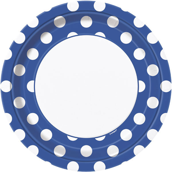 Click for larger picture of ROYAL BLUE DOTS DINNER PLATE PARTY SUPPLIES