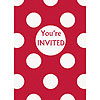 DISCONTINUED RUBY RED DOTS INVITES PARTY SUPPLIES
