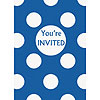 DISCONTINUED ROYAL BLUE DOTS INVITES PARTY SUPPLIES