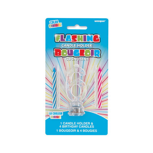Click for larger picture of 6-FLASHING CANDLE HOLDER WITH CANDLE PARTY SUPPLIES