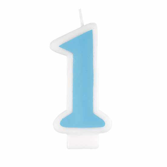 1ST BDAY BLUE CANDLE (6/CS) PARTY SUPPLIES